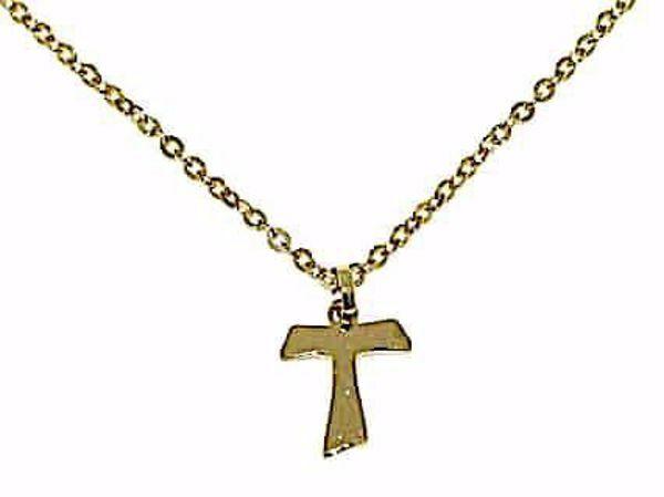 Immagine di Collana Girocollo Moda Croce Tau di San Francesco gr 1,6 Oro giallo 18kt Unisex Donna Uomo