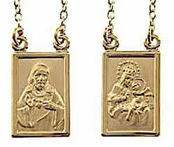 Picture of Crew-neck Necklace with Scapular Medal of the Blessed Virgin of Carmel and Sacred Heart of Jesus gr 8,8 Yellow Gold 18k Unisex Woman and Man