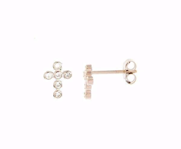 Picture of Lobe Earrings with Cross and 6 Light Spots gr 1,0 White Gold 18k with Zircons for Woman