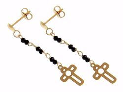 Picture of  Pendant Lobe Earrings with large perforated Cross gr 0,95 Yellow Gold 18k with black Zircons for Woman