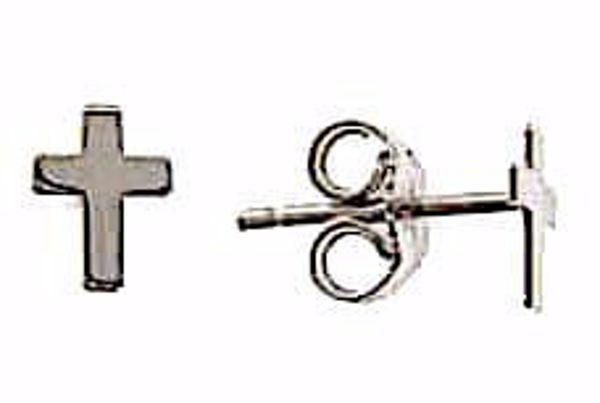 Picture of Fashion Lobe Earrings with smooth Cross gr 0,9 White Gold 18k Unisex for Woman and Man