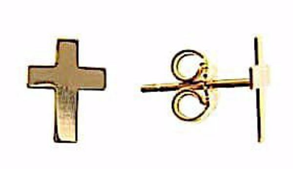 Imagen de Pendientes de Lóbulos Moda con Cruz lisa gr 1,2 Oro amarillo 18kt Unisex para Mujer y Hombre