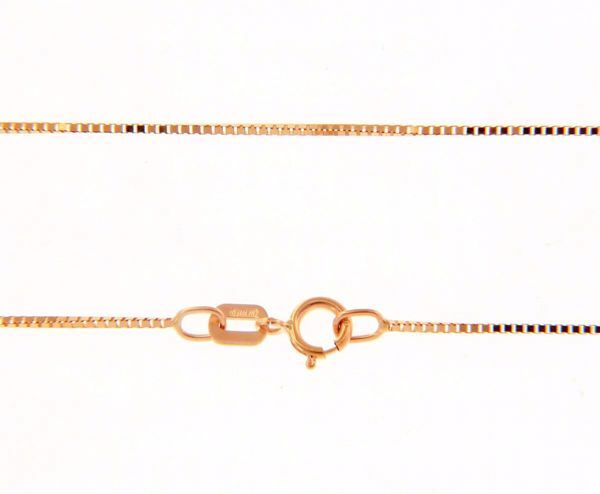 Picture of Square Venetian Chain Necklace Rose Gold 18 kt cm 50 (19,7 in) Unisex Woman Man