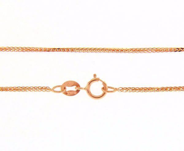 Picture of Wheat square Chain Necklace Rose Gold 18 kt cm 50 (19,7 in) Unisex Woman Man