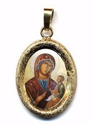 Picture of Madonna with Child Gold plated Silver and Porcelain diamond-cut oval Pendant mm 19x24 (0,75x0,95 inch) Unisex Woman Man