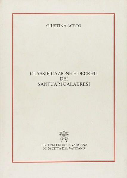Immagine di Classificazione e decreti dei santuari calabresi Giustina Aceto