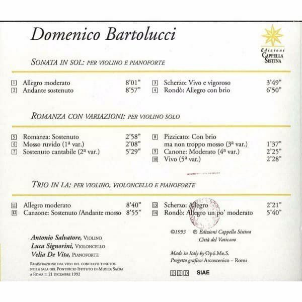 Imagen de Domenico Bartolucci. Sonata in Sol per violino e pianoforte; romanza con variazioni per violino solo; Trio in La per violino, violoncello e pianoforte CD Domenico Bartolucci
