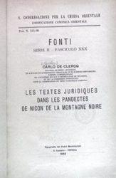 Imagen de Les textes juridiques dans les Pandectes de Nicon de la Montaigne Noire Carlo De Clerq Pontificia Commissio ad Redigendum Codicem Iuris Canonici Orientalis