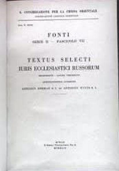 Immagine di Textus selecti iuris ecclesiastici Russorum Pontificia Commissio ad Redigendum Codicem Iuris Canonici Orientalis