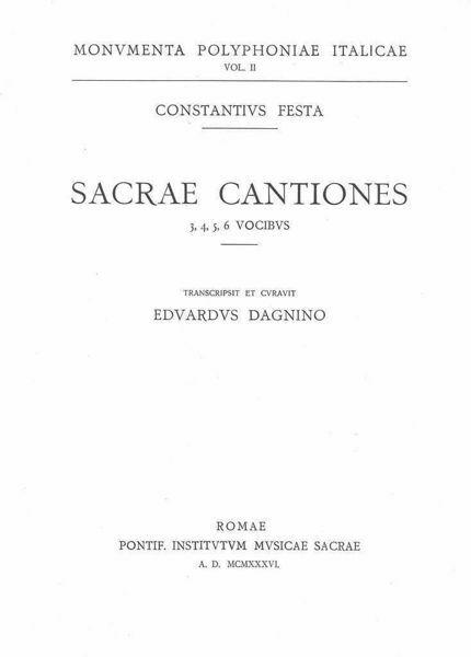 Imagen de Sacrae cantiones 3, 4, 5, 6 vocibus Costanzo Festa Edoardo Dagnino
