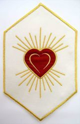 Picture of Hexagonal Embroidered Iron on Applique Patch Embroidered Sacred Heart cm 15x24,5 (5,9x9,6 inch) on Satin Ivory Red Green Purple Chorus Emblem for liturgical Vestments