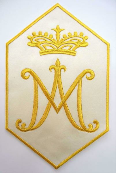 Picture of Hexagonal Embroidered Iron on Applique Patch Marian Symbol M cm 19,2x31,3 (7,6x12,3 inch) on Satin Ivory Chorus Emblem for liturgical Vestments