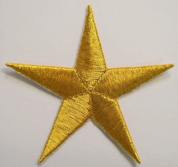 Picture of Large Embroidered Iron on Applique Patch Gold Star cm 7x7 (2,8x2,8 inch) on Satin Gold Silver Chorus Emblem Decoration for liturgical Vestments