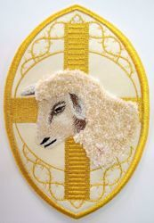Picture of Oval Embroidered Iron on Applique Patch Lamb cm 13,5x20,4 (5,2x8,1 inch) on Satin Ivory Red Green Purple Chorus Emblem Decoration for liturgical Vestments
