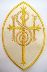 Picture of Large Oval Embroidered Iron on Applique Patch IHS Cross cm 23x34,4 (9,1x13,6 inch) on Satin Ivory Red Green Purple Chorus Emblem Decoration for liturgical Vestments
