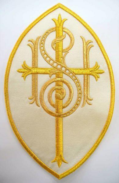 Immagine di Applicazione Ricamata ovale Grande IHS Croce cm 23x34,4 (9,1x13,6 inch) su Tessuto di Raso Avorio Rosso Verde Viola Chorus Emblema per Paramenti liturgici