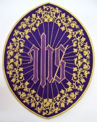 Picture of Oval Embroidered Iron on Applique Patch IHS cm 26,4x33,9 (10,4x13,3 inch) on Satin Ivory Red Green Purple Chorus Emblem Decoration for liturgical Vestments
