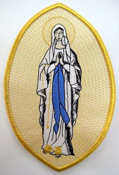Picture of Oval Embroidered Iron on Applique Patch Marian Madonna cm 15x21 (5,9x8,3 inch) on Satin Ivory Chorus Emblem Decoration for liturgical Vestments