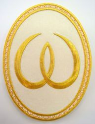 Picture of Oval Embroidered Iron on Applique Patch Omega cm 15,2x20,1 (6,0x7,9 inch) on Satin Ivory Red Green Purple Chorus Emblem Decoration for liturgical Vestments