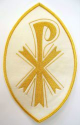 Picture of Oval Embroidered Iron on Applique Patch Pax Gold cm 16,2x25,4 (6,4x9,6 inch) on Satin Ivory Red Green Purple Chorus Emblem Decoration for liturgical Vestments