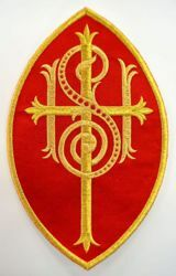 Picture of Small Oval Embroidered Iron on Applique Patch IHS Cross cm 14,6x23,5 (5,7x9,3 inch) on Satin Ivory Red Green Purple Chorus Emblem Decoration for liturgical Vestments