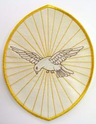 Picture of Oval Embroidered Iron on Applique Patch Holy Spirit cm 20,3x24,5 (8,0x9,6 inch) on Satin Ivory Red Green Purple Chorus Emblem Decoration for liturgical Vestments