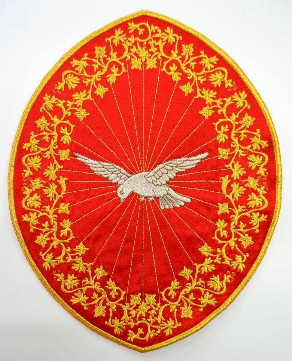 Oval Embroidered Iron On Applique Patch Holy Spirit Cm 26 4x33 9 10 4x13 3 Inch On Satin Ivory Red Green Purple Chorus Emblem For Liturgical Vestments Vaticanum Com