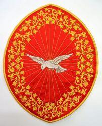 Immagine di Applicazione Ricamata ovale Spirito Santo cm 26,4x33,9 (10,4x13,3 inch) su Tessuto di Raso Avorio Rosso Verde Viola Chorus Emblema per Paramenti liturgici