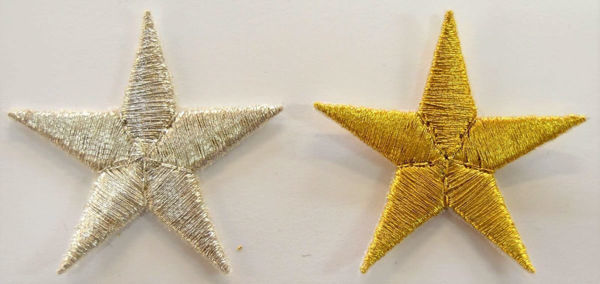 Picture of Small Embroidered Iron on Applique Patch Gold Star cm 4x4 (1,6x1,6 inch) on Satin Gold Silver Chorus Emblem Decoration for liturgical Vestments