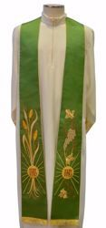 Picture of Priest Deacon Liturgical Stole with embroidered Wheat Grapes IHS in Satin Silk Ivory Red Green Purple Chorus