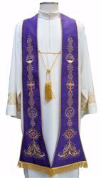 Picture of Priest Roman Stole with Fides Spes Charitas Fishes in Moiré Silk Ivory Red Green Purple Chorus