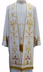 Picture of Priest Roman Stole with Embroidered Eucaristic Wheat in Moiré Silk Ivory Red Green Purple Chorus