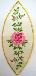 Picture of Oval Embroidered Iron on Applique Patch Embroidered Marian Roses cm 14x32,6 (5,5x12,8 inch) on Satin Ivory Chorus Emblem for liturgical Vestments