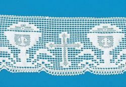 Picture of Bobbin Lace Cross and Chalice Embroidery H. cm 11 (4,3 inch) pure Cotton White for Altar Tablecloth and Liturgical Vestments