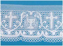 Imagen de Encaje de Bolillos Bordado Cruz y Cáliz H. cm 15 (5,9 inch) Algodón puro Blanco para Mantel de Altar y Vestiduras Sagradas