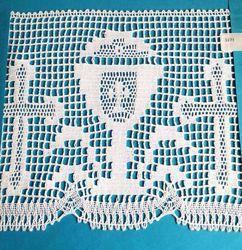 Imagen de Encaje de Bolillos Bordado Cruz y Cáliz H. cm 20 (7,9 inch) Algodón puro Blanco para Mantel de Altar y Vestiduras Sagradas