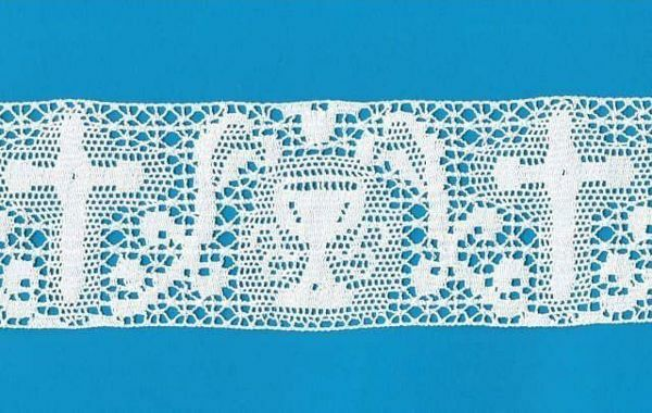 Picture of Bobbin Lace Cross and Chalice Embroidery H. cm 8 (3,1 inch) pure Cotton White for Altar Tablecloth and Liturgical Vestments