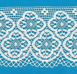 Picture of Bobbin Lace Cloverleaf Cross Embroidery H. cm 16 (6,3) pure Cotton White for Altar Tablecloth and Liturgical Vestments