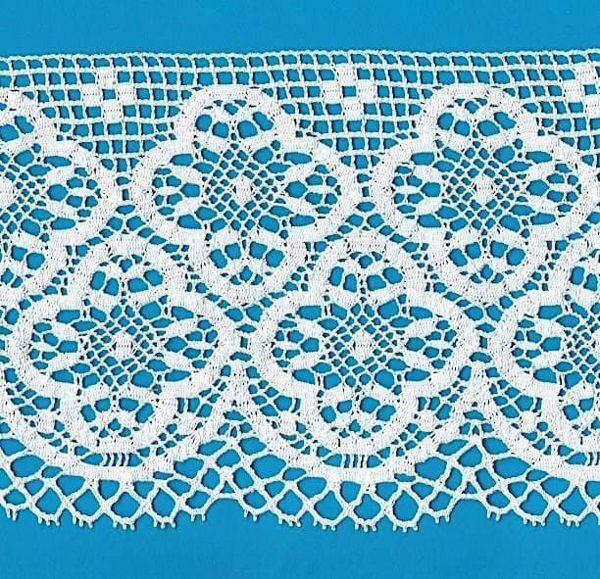 Imagen de Encaje de Bolillos Bordado Cruz de Trébol H. cm 16 (6,3) Algodón puro Blanco para Mantel de Altar y Vestiduras Sagradas