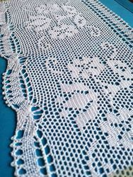 Picture of Bobbin Lace Floral Embroidery H. cm 16 (6,3) pure Cotton White for Altar Tablecloth and Liturgical Vestments
