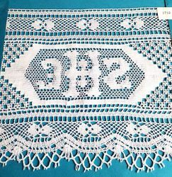 Picture of Bobbin Lace JHS Embroidery H. cm 19 (7,5 inch) pure Cotton White for Altar Tablecloth and Liturgical Vestments