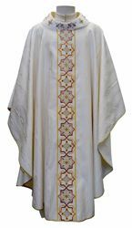 Picture of Gothic Chasuble in Golden Wool and Silk blend Round Collar Gold Embroidery Orphrey and Neck in Moirè Silk Ivory Red Green Purple Chorus