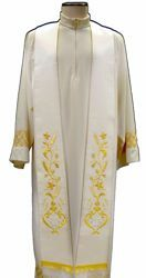 Picture of Priest Deacon Liturgical Stole with embroidered Anchor Silk Ivory Red Green Purple Chorus
