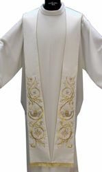 Picture of Priest Deacon Liturgical Stole with embroidered Fish and Bread  in Satin Silk Ivory Red Green Purple Chorus