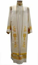 Picture of Priest Deacon Liturgical Stole with embroidered Cross and Wheat in Satin Silk Ivory Red Green Purple Chorus