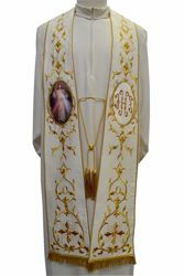 Picture of CUSTOMIZABLE Priestly Roman Stole with IHS Golden embroidery and Image upon request in Moiré Silk Ivory Red Green Purple Chorus