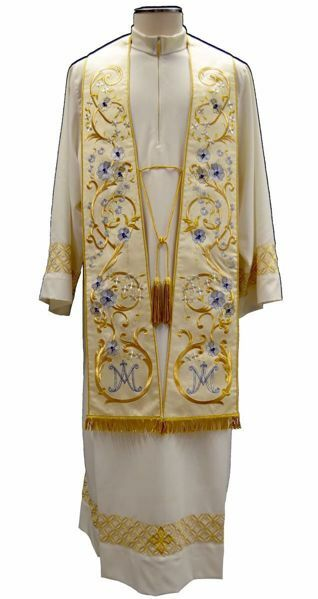 Picture of Priestly Roman Marian Stole in Moiré Silk Ivory Chorus