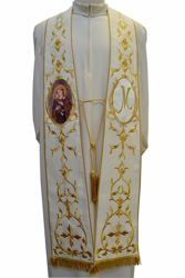 Picture of CUSTOMIZABLE Priestly Roman Stole with Golden embroidery and Image upon request in Moiré Silk Ivory Chorus