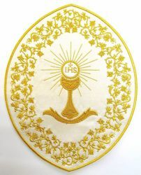 Picture of Oval Embroidered Iron on Applique Patch Chalice cm 26,4x33,9 (10,4x13,3 inch) on Satin Ivory Red Green Purple Chorus Emblem for liturgical Vestments