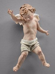 Immagine di Putto 02 cm 10 (3,9 inch) Presepe vestito Immanuel stile orientale in legno Val Gardena Statua con abiti in stoffa